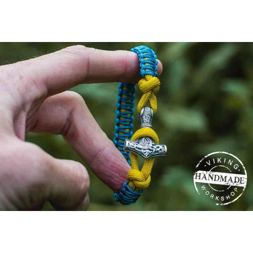 Paracord Bracelet with Silver Plated Mjolnir (Sky Blue+Yellow)